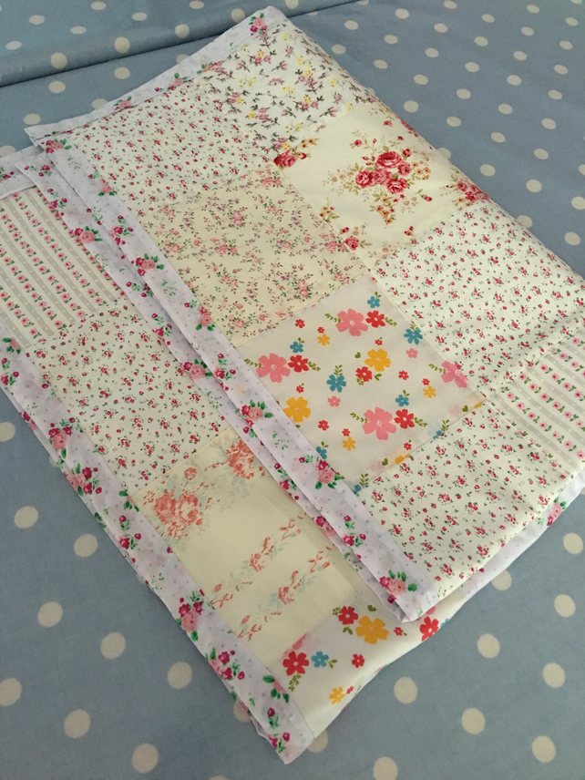 Shabby chic  patchwork  quilt, throw, bedding, blanket ,cot quilt