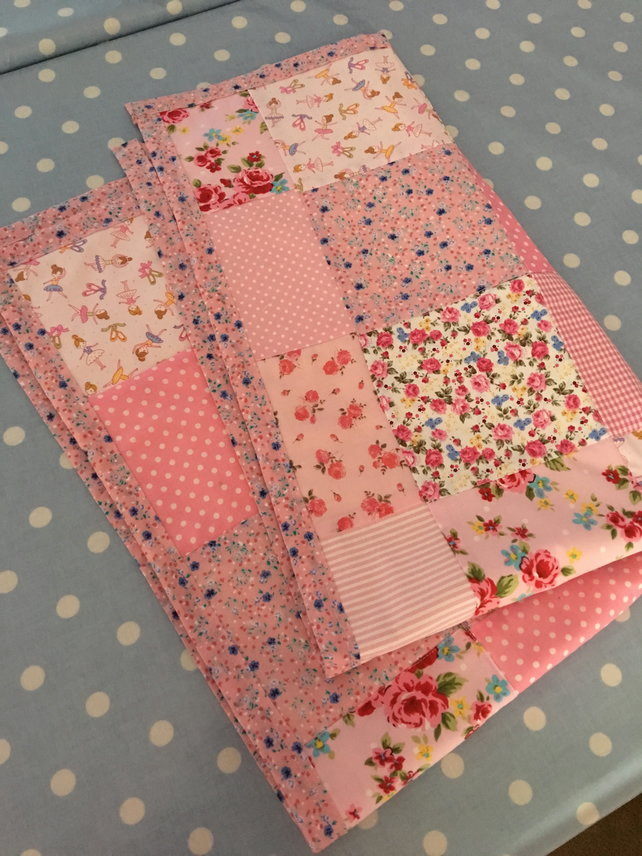 Pink patchwork Fairy  cot quilt, throw, bedding, blanket ,cot quilt