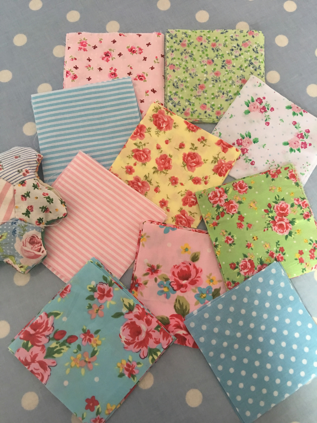 "40 x 4"" shabby chic coloured cotton fabric patchwork squares"
