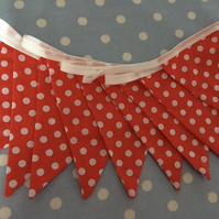 10 ft Red spotty cotton fabric bunting, banner, wedding,party flags