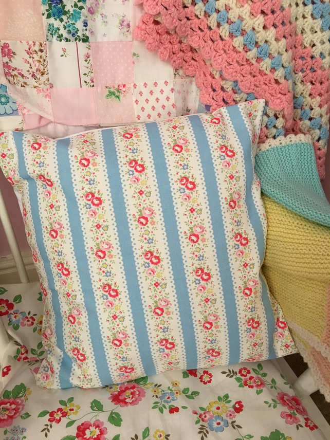 Cath kidston lace stripe cotton duck fabric cushion cover