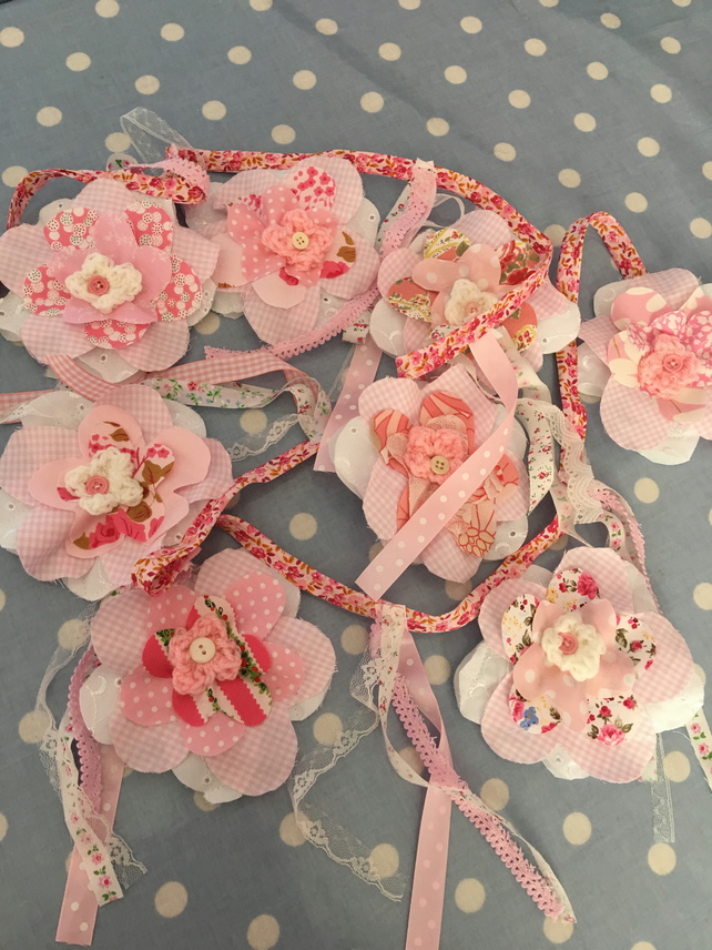Pink  cotton fabric  Flower bunting