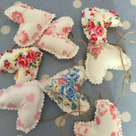 Mini heart bunting, banner in shabby chic cotton fabrics