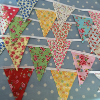 15 ft Summer cotton fabric bunting, banner, wedding,party flags