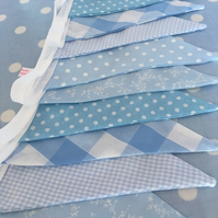 10 ft shades of  blue  cotton fabric bunting, banner, wedding,party flags