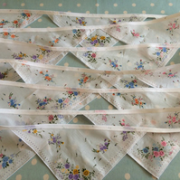 20 ft hankie bunting,White cotton fabric bunting,banner,flag,wedding,event