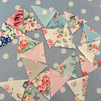 8ft elasticated Cath kidston cotton fabric bunting