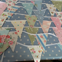 25 ft Cath kidston summer cotton fabric bunting, banner, wedding,party flags