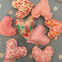 Mini heart bunting, banner in pink shabby chic cotton fabrics