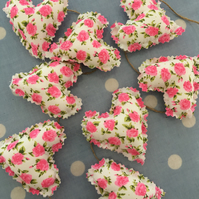 Mini heart bunting, banner in pink roses  shabby chic cotton fabrics