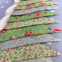 10 ft Green cotton fabric bunting, banner, wedding,party flags
