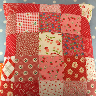 Patchwork cushion cover in Penny rose cotton fabrics
