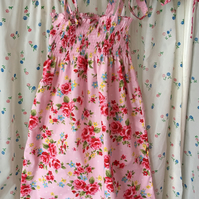 Girls summer dress in pink  floral design  cotton fabric size 5-8