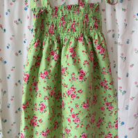 Girls summer dress in Green floral design  cotton fabric size 5-8