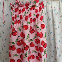 Aged 2- 5 years Smock style summer dress in red cherry  design cotton fabric