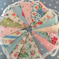 50 ft Cath kidston summer cotton fabric bunting, banner, wedding,party flags