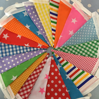 20 ft  festival,carnival cotton fabric bunting, banner, wedding,party flags