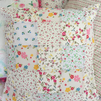 Patchwork cushion cover in Cream,white Floral fabrics