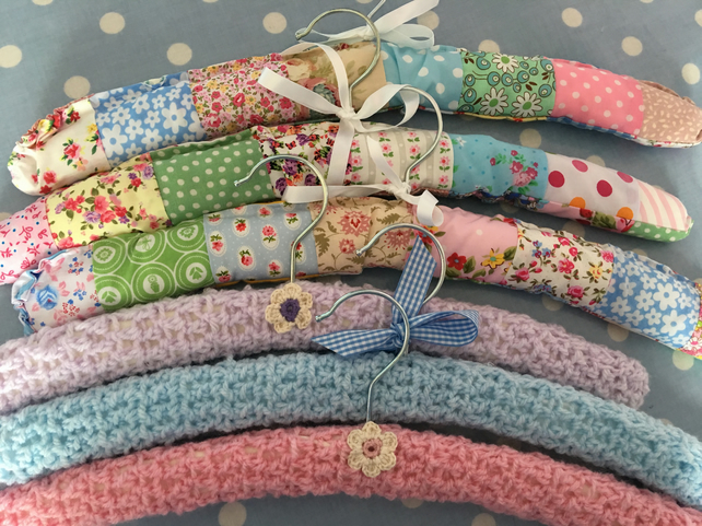 3  large cotton fabric patchwork covered hangers