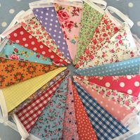 20 ft Shabby chic cotton fabric bunting, banner, wedding,party flags