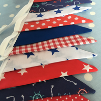 Red & blue nautical cotton fabric bunting, banner, wedding,party flags