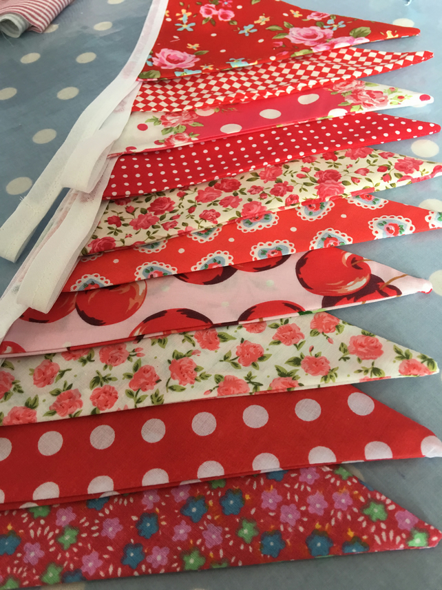 10 ft  red cotton fabric bunting, banner, wedding,party flags