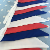 Traditional  red,white and blue cotton fabric bunting