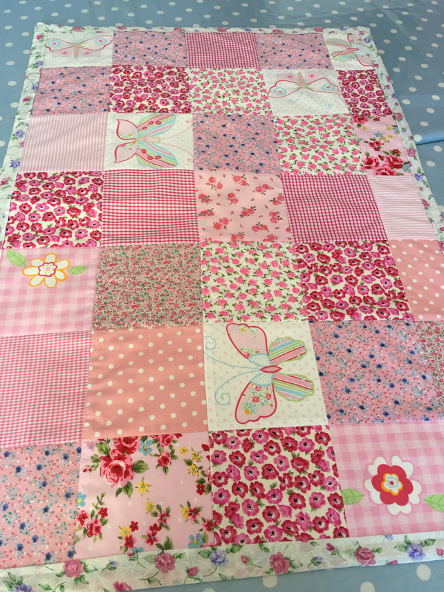 Pink Patchwork quilt, throw,bedspread, cot quilt