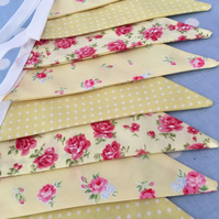 Lemon cotton fabric bunting, banner, wedding,party flags