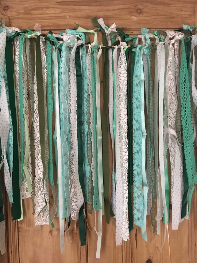Shades of green  Shabby chic boho lace & ribbon rag tie garland