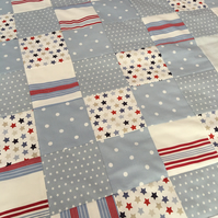 Boys stars & stripes fabric Patchwork quilt, throw,bedspread, cot quilt