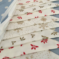 White Christmas cotton fabric bunting, banner, wedding,party flags