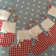 Red Gingham Christmas cotton fabric stocking garland banner, Christmas stockings