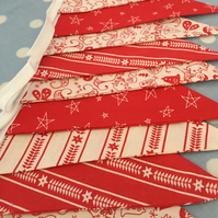 Red Christmas cotton fabric bunting, banner, wedding,party flags