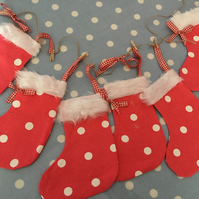 Red Christmas cotton fabric stocking garland banner, Christmas stockings