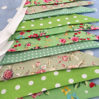 Green cotton fabric bunting, banner, wedding,party flags