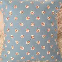 Cushion cover in Cath Kidston Blue  floral spot  cotton duck fabric