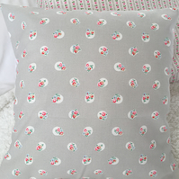 Cushion cover in Cath Kidston Stone   floral spot  cotton duck fabric