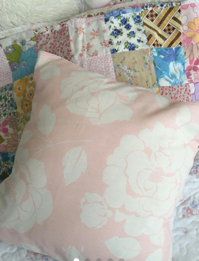 Cushion cover in Cath Kidston Pink mono rose  cotton duck fabric