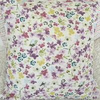 Purple floral design cotton fabric Cushion cover