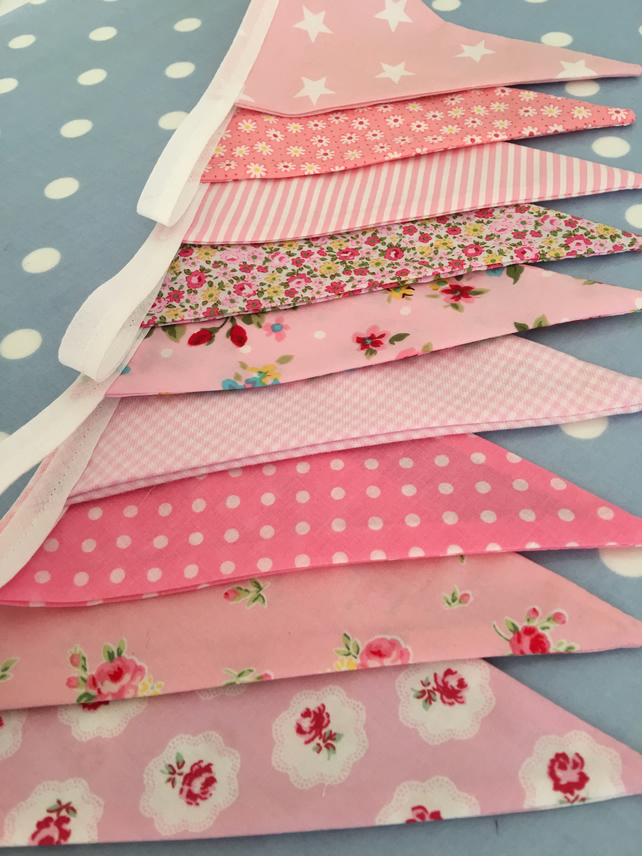 Pink cotton fabric bunting, banner, wedding,party flags