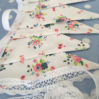 10 ft shabby chic floral fabric bunting ,banner,wedding,event