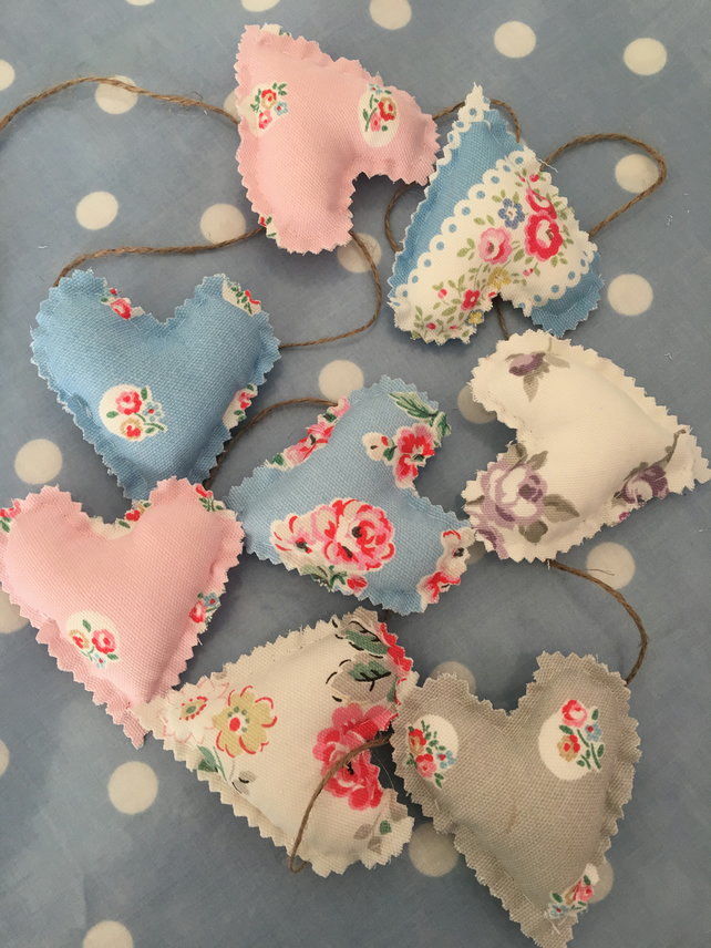 Cath kidston cotton fabric mini heart bunting