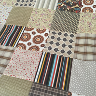 Patchwork quilt ,bedding,blanket  with brown fleece