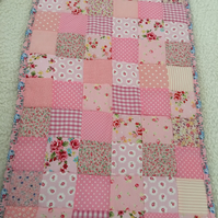 Pink Patchwork  baby quilt , bedding,blanket  with white  fleece
