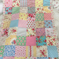 Patchwork  baby quilt , bedding,blanket  with white  fleece