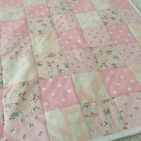 Patchwork quilt ,bedding,blanket in Cath kidston fabrics and white cotton back