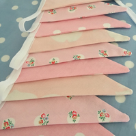 Pink Cath kidston cotton fabric bunting, banner, wedding,party flags