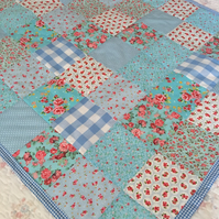Blue  Patchwork quilt ,bedding,blanket  with white cotton back