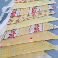 10 ft yellow cotton fabric bunting ,banner,wedding,event